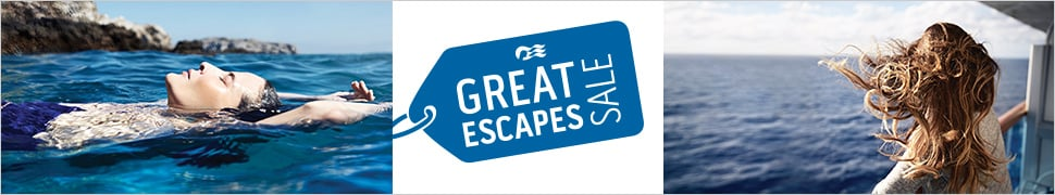 Great Escapes Sale - woman swimming in the ocean and a woman on deck of ship looking
